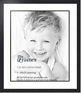 ArtToFrames 拼贴照片框双垫,带 1-50.8x60.96 厘米的开口和缎面黑框