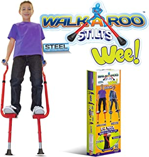 Geospace Original Walkaroo 'Wee' Balance Stilts for Little Kids & Beginners Ages 4+, Assorted Colors (Red or Blue)