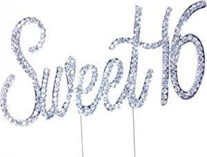 Sweet16 水钻水晶蛋糕装饰银,数字,婚礼字母,生日,周年纪念,派对。 闪亮耀眼。 优质犀牛。 亚马逊*好的优惠。 Sweet 16 02 CT16S02