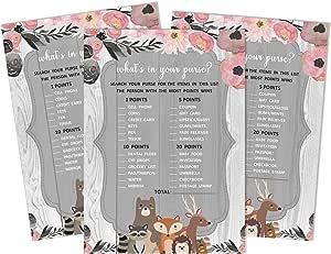 Inkdotpot 50 婴儿字母表游戏 花卉和动物 婴儿淋浴游戏 性别 中性聚会用品 What'sin_your_purse 5 x 7 Inches PA-910873-IMS-JGA-BBS60O