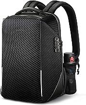 防盜筆記本電腦背包,Fintie TSA 友好鎖防水帆布背包,帶 RFID 保護,USB 端口適用于旅行商務學校戶外日背包男士適合 15.6 英寸筆記本電腦,黑色