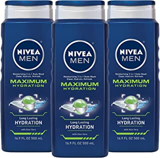 Nivea for Men Maximum Hydration 3-in-1 Body Wash 16.9 Ounce, (Pack of 3)