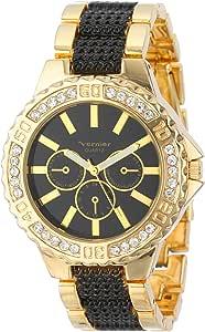 Vernier 女式 VNR111-23YG 圆形金色和黑色计时手链手表