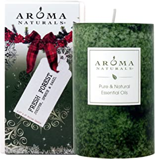 Aroma Naturals Evegreen Holiday Essential Oil Pillar Candle, Juniper, Spruce and Basil, 2.5 Inch x 4 Inch