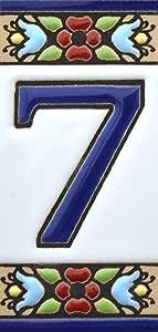 "ART ESCUDELLERS 房子数字 3 英寸手绘房屋数字瓷砖用于标志、地址和名称家庭地址数字和字母设计迷你 2,87"" x 1,38"" Number Seven ""7"""