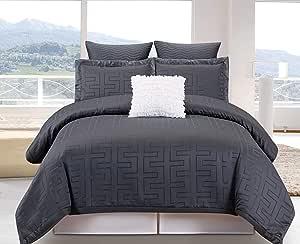 Duck River Textiles 6 Piece Schillman Overfilled Comforter Set, Grey, King