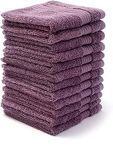 Bliss 豪华精梳棉浴巾 - 86.36 cm x 142.24 cm 超大优质浴巾 - 650 GSM - 柔软且吸水性 Wisteria 12 PK Bliss Wash Cloth Set