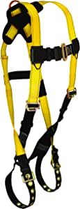 FallTech 7021XS Journeyman, Standard, Non-Belted Full Body Harness - 1 Back D-Ring, Tongue Buckle Legs and Mating Buckle Chest, X Small, Yellow/Black