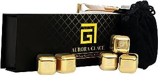 Aurora Glace | 威士忌石豪华礼品套装 - 金色不锈钢可重复使用冰块和天鹅绒袋适用于威士忌、葡萄*、咖啡和茶 | 6 件装