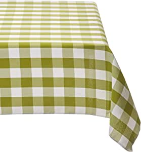 "LA Linen 涤纶格子 152.4 x 228.6 厘米长方形桌布。 美国制造 Apple Green/White 60"" x 90"" TCcheck60x90_AppleWht"