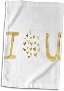 "3dRose PS Inspiration - Gold I Love You Hearts - 毛巾 白色 15 x 22"" twl_280746_1"
