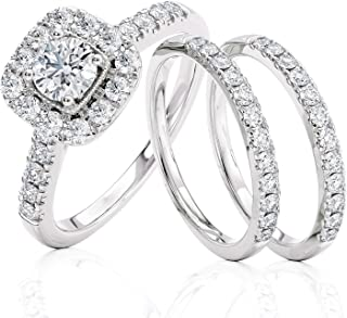 Beverly Hills Jewelers 1.00 克拉总重量 IGI 认证钻石订婚戒指 14 克拉白金(颜色为 I-J,净度为 I1-I2) 尺寸