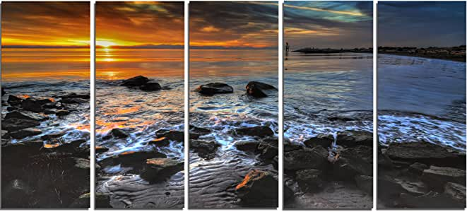 "Design Art 5 面板日落在岩石海海岸上的大景观艺术油画印刷品 60x28"" - 5 Equal Panels PT14622-60-28-5PE"
