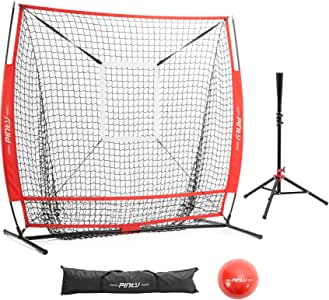 Pinty 棒球和垒球练习网 5 × 5 英尺击球网 带目标区束、棒球、棒球垒球击球 T 恤和手提袋
