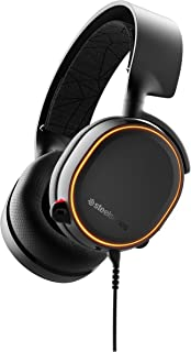 SteelSeries Arctis 5 带DTS的RGB发光游戏耳机:X v2.0环绕声,适用于PC和PlayStation 4,黑色