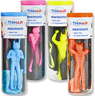 Thin Air Brands Tangle-Free Parachute with Paratrooper in Reusable Storage Tube, Multicolor (Set of 4)