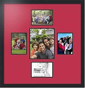 ArtToFrames 拼贴相框双垫带 5 个开口和黑色缎面相框 红色(Rouge) 1-8x10&4-5x7 Double-Multimat-327-762/89-FRBW26079