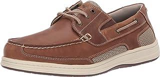 Dockers 男士 Beacon 皮革休闲经典船鞋 NeverWet 棕褐色/灰褐色 Dark Tan 疯马 8.5 W US