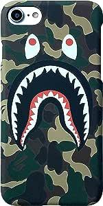 *迷彩鲨鱼嘴眼鲨鱼头保护膜硬质手机壳 iPhone 6 6s 6plus 7 8 Plus X For iphone 7 plus/8 plus *