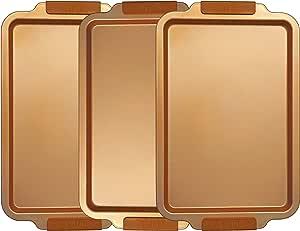 E4U 铜厨房饼干纸 - 陶瓷烘焙锅 - 18 x 11 深盘碳钢烤盘带硅胶手柄和免费的*盘套装