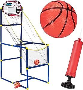 Relaxdays Arcade 篮球套装,篮球篮,适用于房间,2 个球,儿童乐趣;高 x 宽 x 深:148 x 45 x 88 厘米