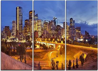 Design Art PT11610-3P 夜全景卡尔加里天际线 - 现代城市风帆布墙艺术 - 91.44x71.12cm - 多板 3 件,36x71.12cm 3 件