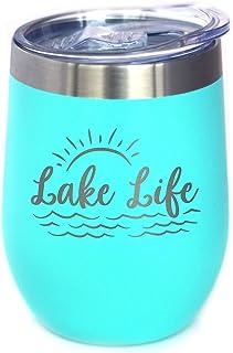 Lake Life - 葡萄酒杯带滑动盖子 - 无柄不锈钢保温杯 - 可爱的户外野营杯 蓝*