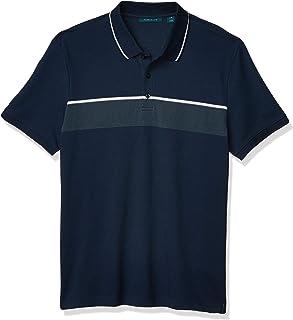 Perry Ellis 男式提花胸条纹短袖 Polo 衫