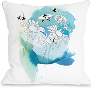 Judit Garcia Talvera Bentin Home Decor 雏菊抱枕 White/Multicolor 18x18 Pillow 12924PL18