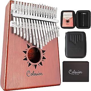 Kalimba 17 键拇指钢琴 - 高共振和强大的声音波浪 - 无裂纹实心桃花心木 mBira 手指钢琴 - 赠送一个 Kalimba 拇指钢琴防震袋 - 适合儿童和成人的*礼物