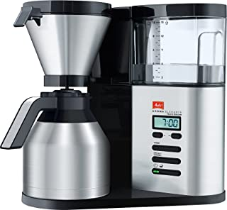 Melitta 香郁典雅,1012-01,过滤式咖啡机,带玻璃杯,黑色/拉丝钢 黑色/拉丝钢 1012 04