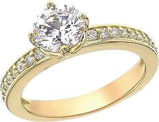 Myia Passiello 镀铂金纯银必备施华洛世奇锆石圆形槽戒指