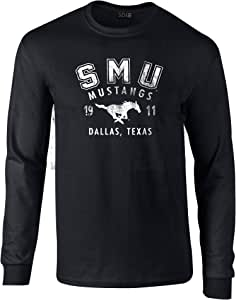 NCAA SMU Mustangs * 预缩处理长袖 T 恤,黑色,XL 码