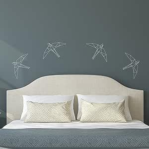 """一套 4 张乙烯基墙壁艺术贴花 - 几何鸟 - 24.92cm x 29.21cm 每个 - 乙烯基贴纸适合家庭公寓使用 - 别致的几何动物用于客厅卧室装饰 白色 9.48"""" x 11.53"""" each GEOBIRD"""