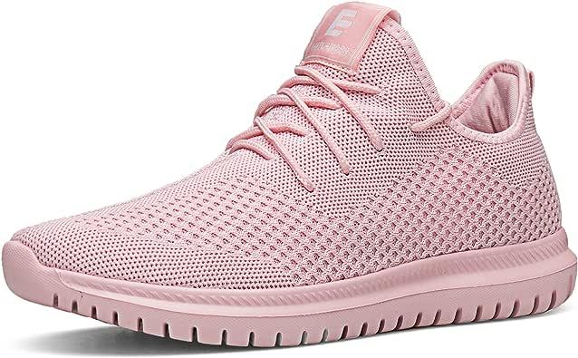 男女运动鞋轻便运动休闲运动鞋系带跑步鞋 粉红色 8 M US Women / 5 M US Men