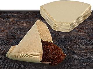 #4 咖啡滤纸 - 100 张未漂白锥形,8-12 杯大号天然棕色一次性纸,用于倒倒和滴漏咖啡机,环保咖啡机部件和配件