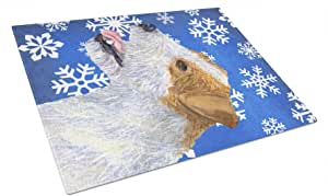 Caroline's Treasures Jack Russell Terrier Winter Snowflakes Holiday Glass Cutting Board, Large, Multicolor
