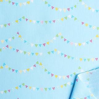 双日时尚 棉质印花 入园入学 连续旗图案 宽110cm×9m切断销售 C 水蓝色 DH13062S-C 手工制作用品