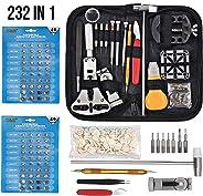 Justech 151 件套手表维修套件手表表壳开瓶器弹簧杆维修工具表带链接针工具带 80 件手表电池手指套和手提箱