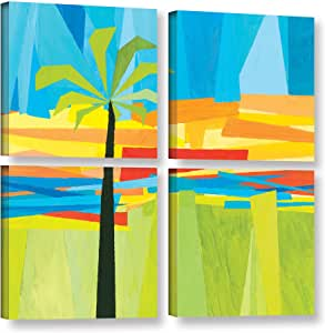 """ArtWall 4 Piece Jan Weiss's Wonderful Palm Gallery Wrapped Canvas Square Set, 36"""" x 36"""""""