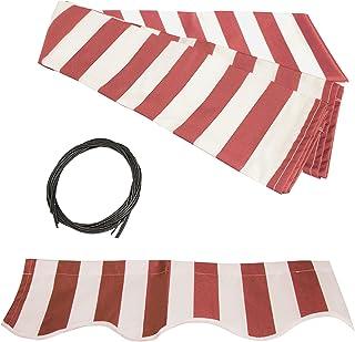 ALEKO FAB16X10REDWT05 可伸缩遮阳篷织物替换品 40.64 x 304.8 米红色和白色条纹