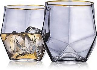 Geo Gold Rim Stemless 酒杯优雅套装,2 件套。 (透明) 烟灰色 12盎司