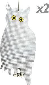 PrimeMatik YZ18-VCES 防鸟 带反光猫头鹰和铃铛 2 件装 (YZ18) 白色