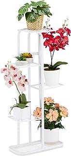 Relaxdays 花楼梯,金属,花架,带5层,粉末涂层,植物架,高宽:97 x 43.5 x 24.5厘米,白色,1件