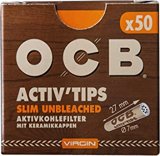 OCB 18666 ActivTips Slim Unbleached-7 毫米维他命活性炭过滤器,带陶瓷盖-5 x 50 250件,纸