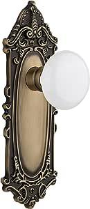 Nostalgic Warehouse VICWHI-22-AB Victorian Plate with White Porcelain Knob, Double Dummy Set, Antique Brass