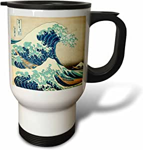 inspirationzstore 古典艺术 – THE GREAT WAVE OFF kanagawa 来自日本艺术家 kanagawa – dramatic 蓝色海洋 ukiyo-e 印花1830 – 旅行杯 白色 14 oz