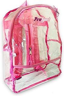 透明背包体育场批准适合成人青少年儿童 ~ 15 英寸重型透明透明背包,适用于学校体育场音乐会旅行 粉红色 Clear Backpack