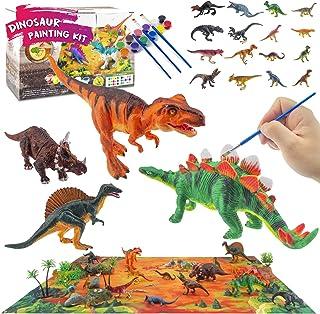 FTBox 儿童恐龙绘画套装,雷克斯霸王龙,三角龙,棘龙,剑龙水彩绘画艺术和工艺套装,恐龙人物,恐龙场景带游戏地毯
