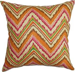 "The Pillow Collection Dayana Zigzag Euro Sham 橙色粉色 orange/pink Standard/20"" x 26"" STD-D-42326-SPICE-C100"